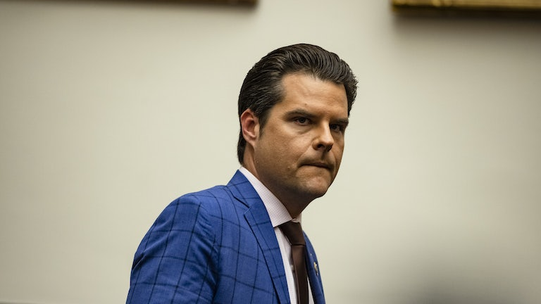 Representative Matt Gaetz arrives for a House Armed Services Subcommittee hearing