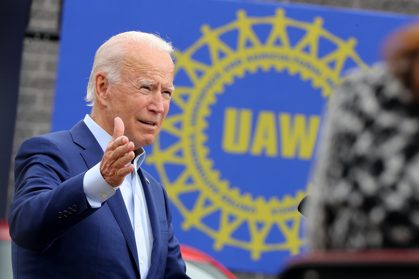 Democratic presidential nominee and former Vice President Joe Biden delivers remarks in the parking lot outside the United Auto Workers Region 1 offices on September 09, 2020