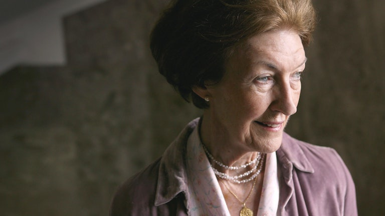 A close-up shot of author Shirley Hazzard in London in 2004