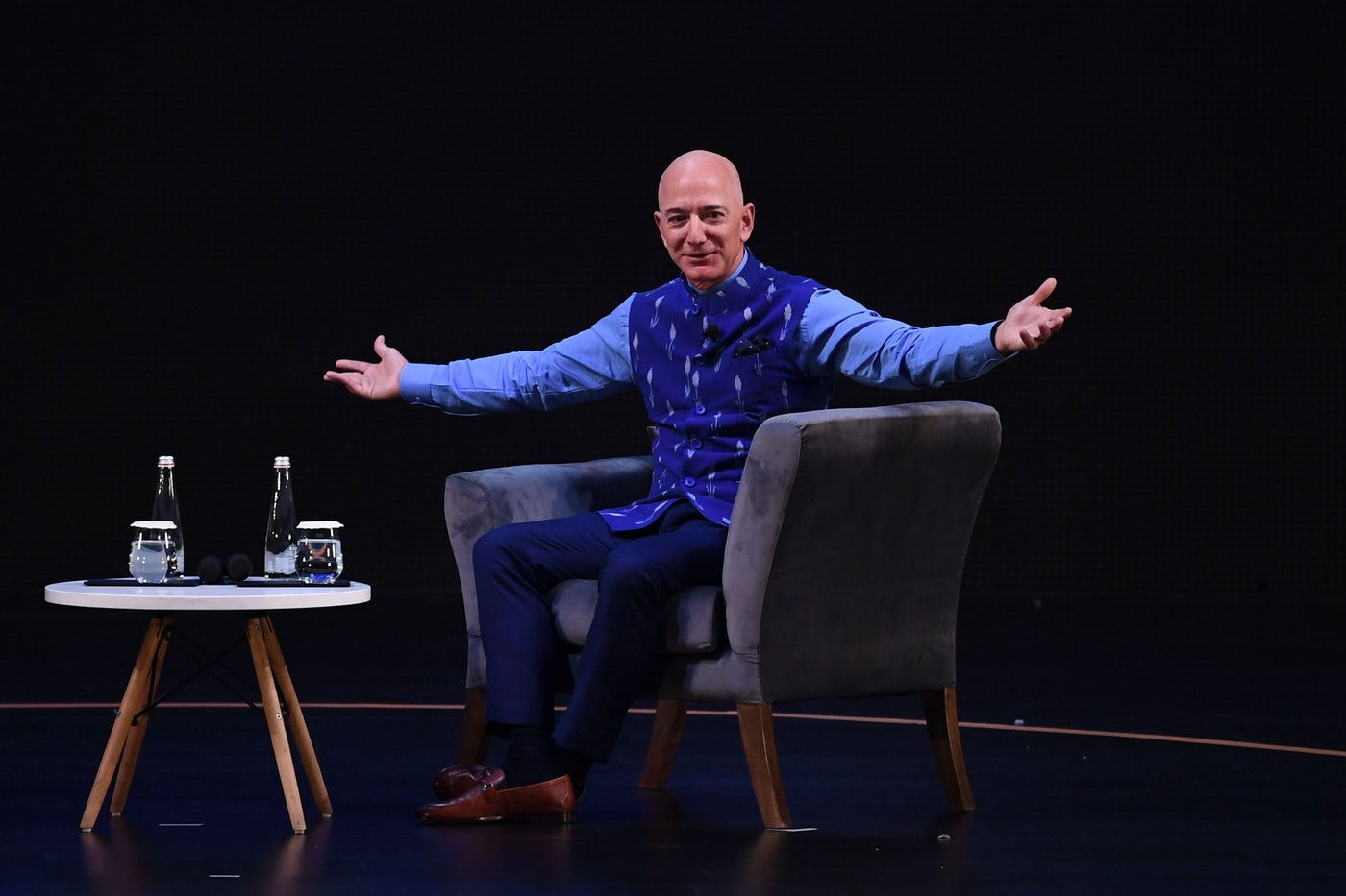 Amazon CEO Jeff Bezos gestures during an event in New Delhi in 2020.