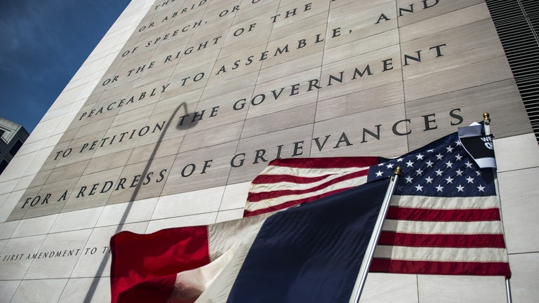 The text of the First Amendment of the U.S. Constitution is displayed on the facade of the Newseum.