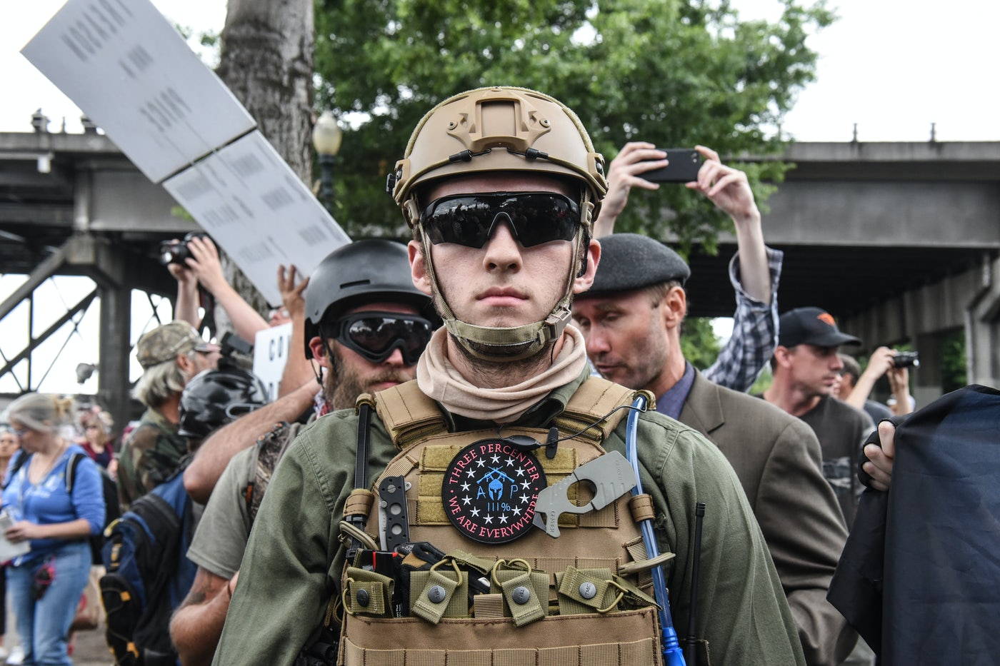 Members of a white nationalist group at an alt-right rally in Portland