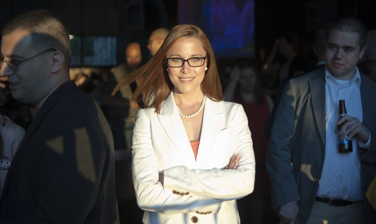 MSNBC's S.E. Cupp, with a background admirer (right). (Washington Post)