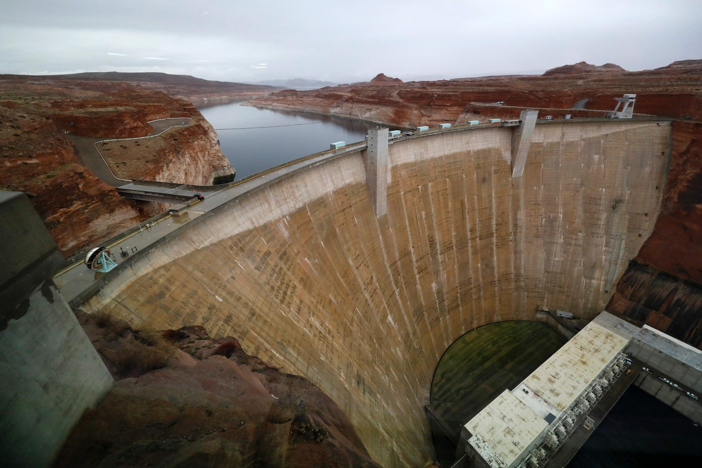 Glen Canyon Dam at Lake Powell, a man-made reservoir along the Colorado River in Utah.