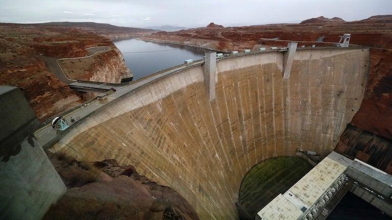 Glen Canyon Dam at Lake Powell, a man-made reservoir along the Colorado River in Utah.
