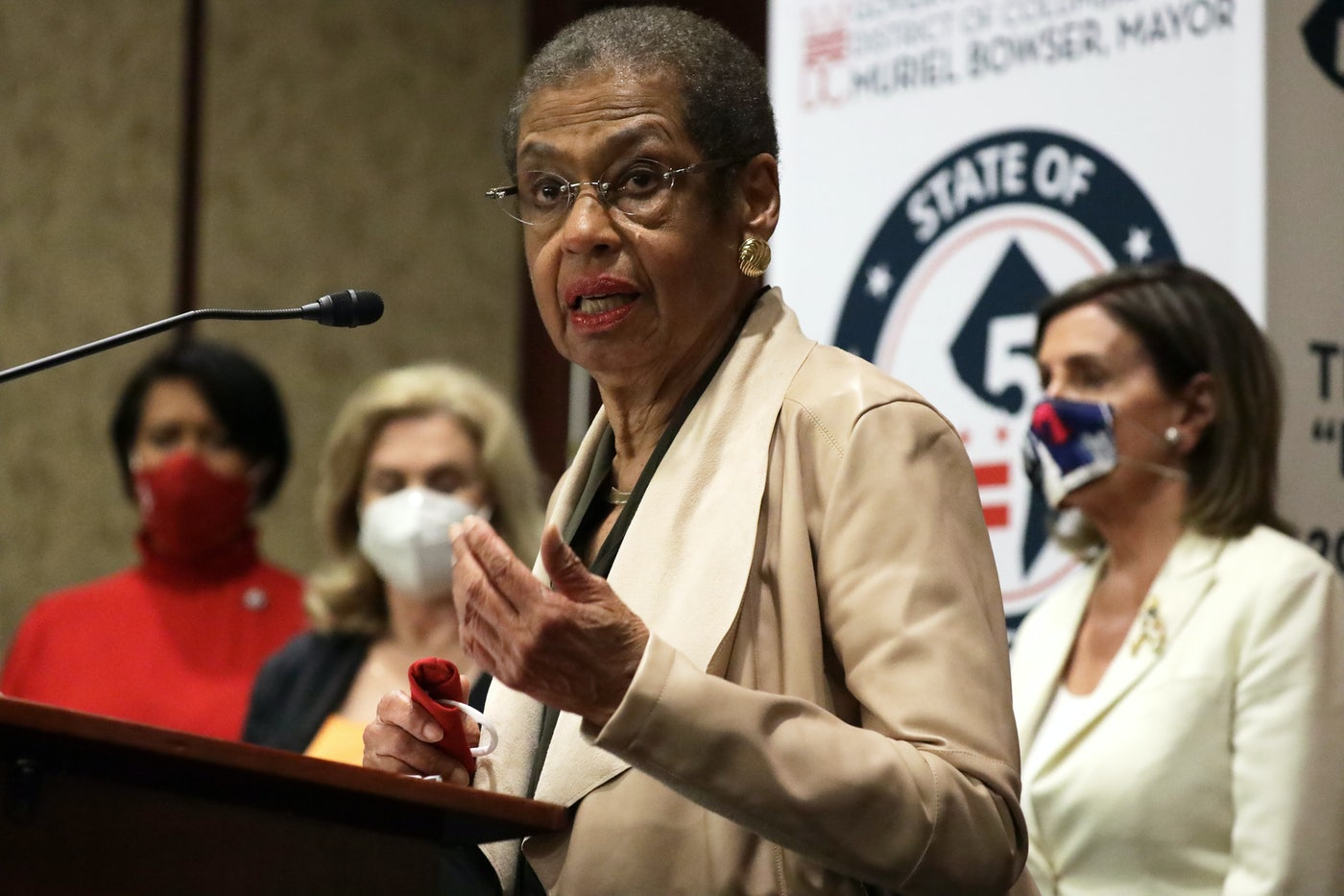 Eleanor Holmes Norton speaks during a news conference on District of Columbia statehood.