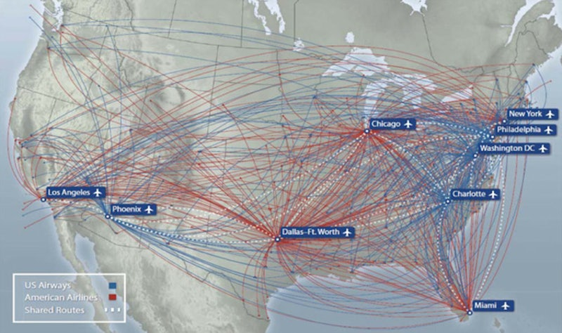 here are two maps that show the combined domestic and international flight routes for american airlines and us airways according to a presentation given by