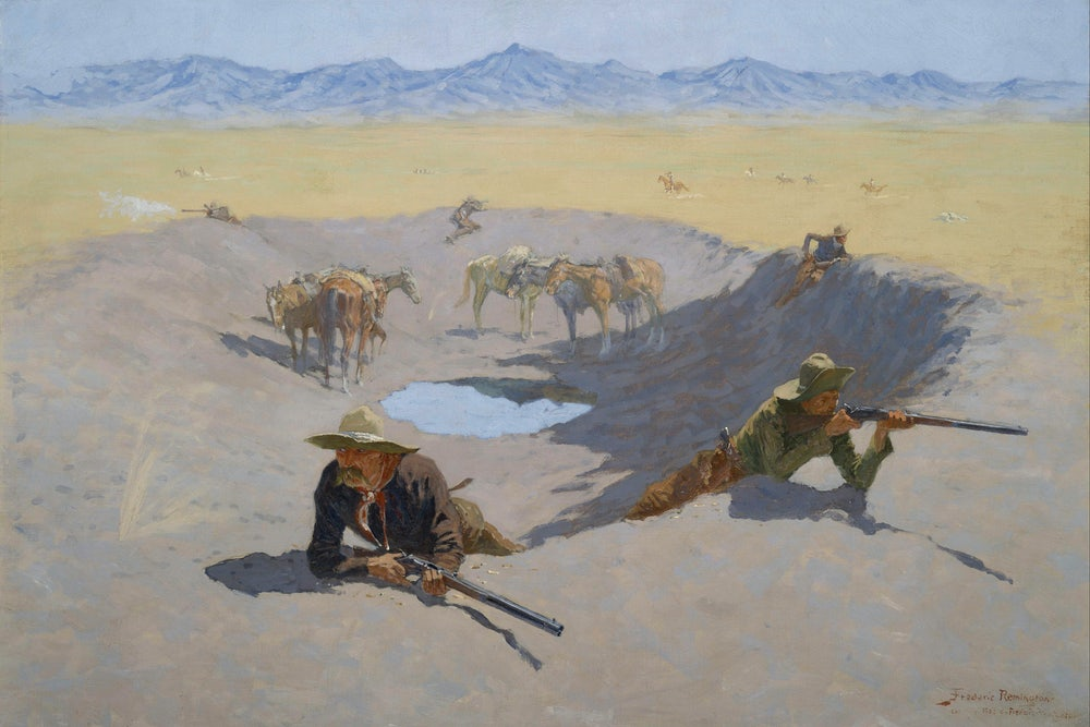 Indywatch feed allworld fight for the waterhole by frederic remington wikimedia fandeluxe Choice Image