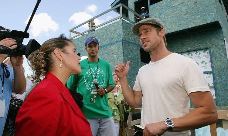 Brad Pitt and then–council member Cynthia Willard-Lewis (L) at a press conference in the Ninth Ward in 2007. (Getty Images/Getty Images Entertainment/Mark Mainz)