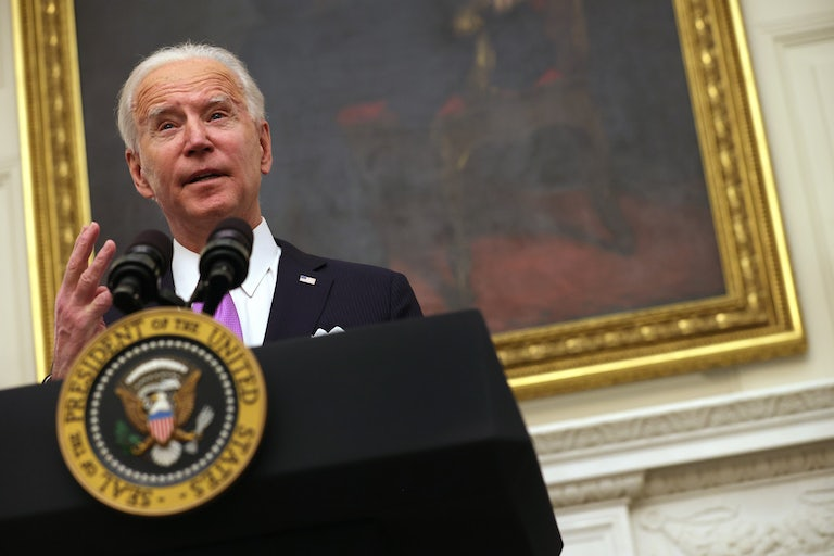 Joe Biden speaks at an event on January 21.
