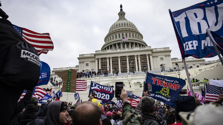 Protesters waving Trump 2020 flags mob in front of the Capitol building.