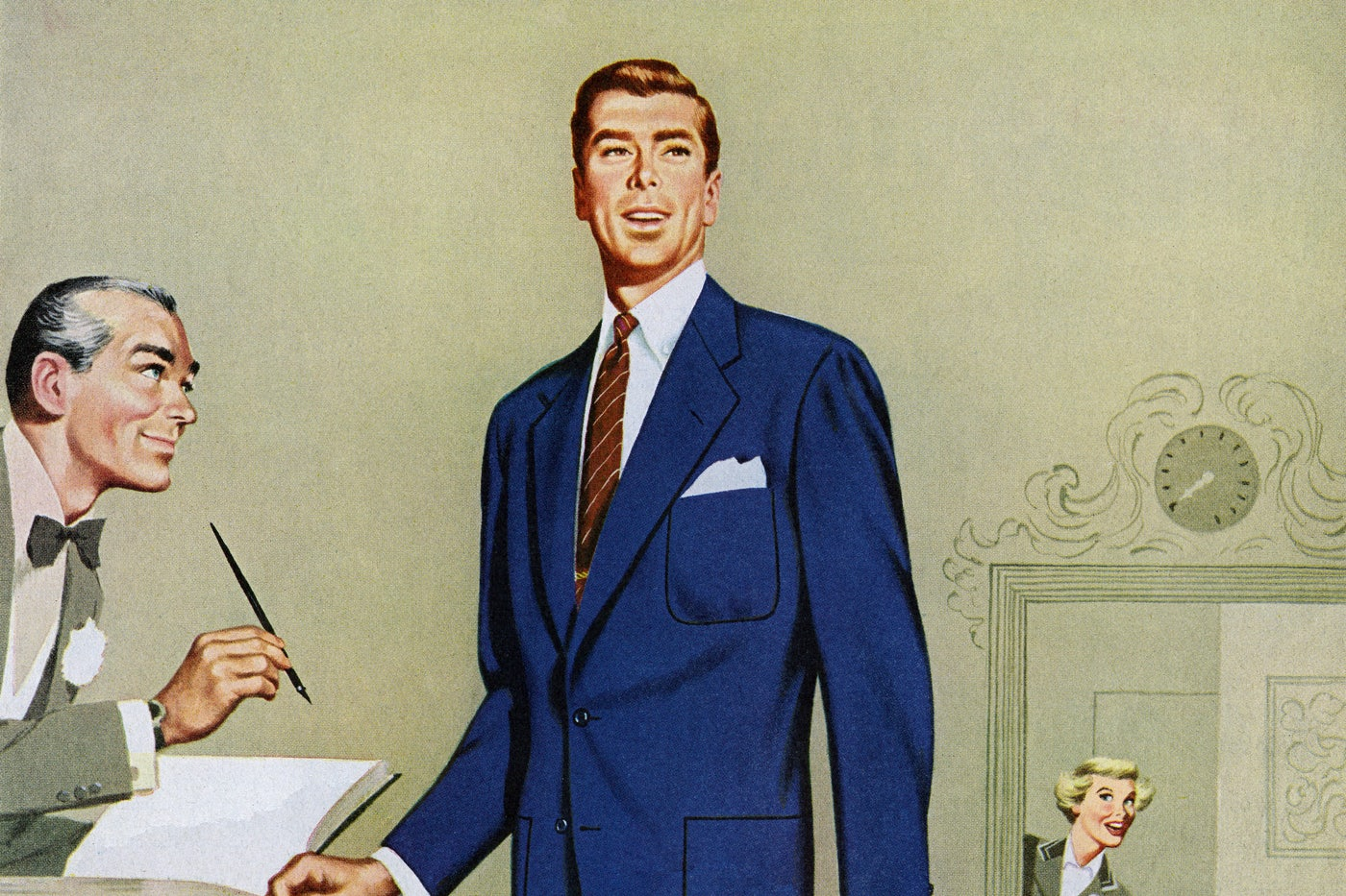 A 1950s illustration of a businessman standing by a desk