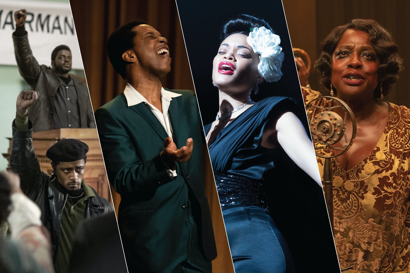 "Daniel Kaluuya and LaKeith Stanfield in ""Judas and the Black Messiah""; Leslie Odom Jr in ""One Night in Miami...,"" Andra Day in ""The United States vs Billie Holiday""; and Viola Davis in ""Ma Rainey's Black Bottom."""
