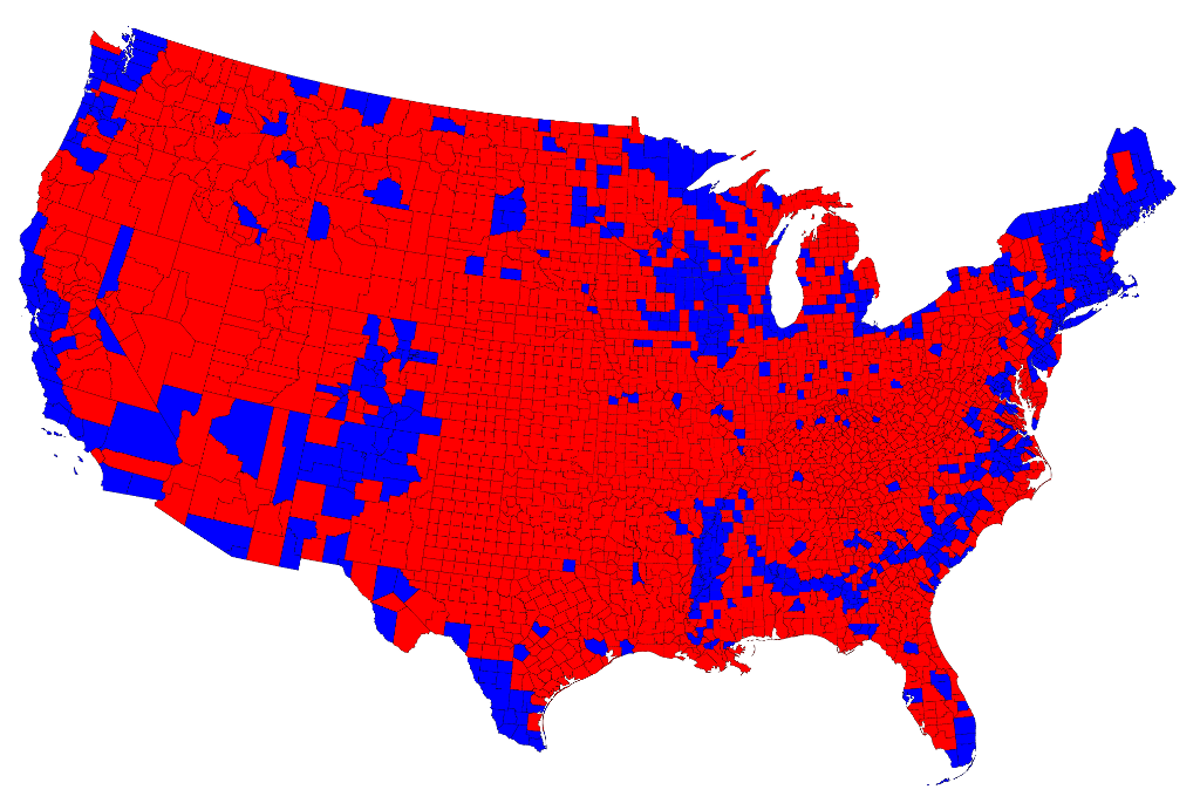 Cartogram Maps Prove That America Isnt A Red Country The New Republic - Us-population-map-by-county
