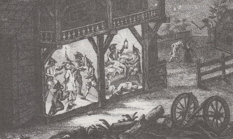 An eighteenth-century French engraving of a home invasion—an instance of the violence torturers were called upon to avenge, 1769. (Bayerisches Hauptstaatsarchive München)