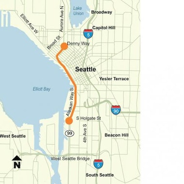 The Alskan Way Viaduct (SR 99) is a double deck highway on Seattle's waterfront--WSDOT map