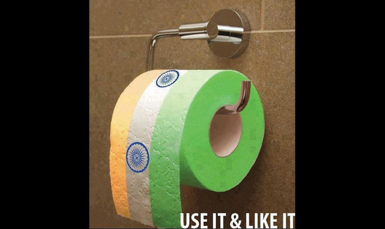 This novelty toilet paper (deemed by India to desecrate its flag).