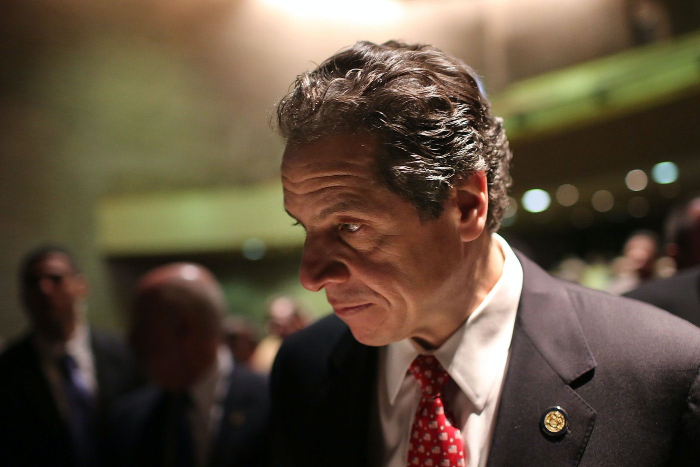 Andrew Cuomo pauses after delivering his State of the State and budget proposals at The City College of New York