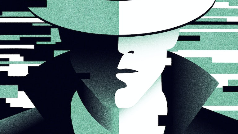 A green, white, and black illustration of a spy, eyes covered with a hat