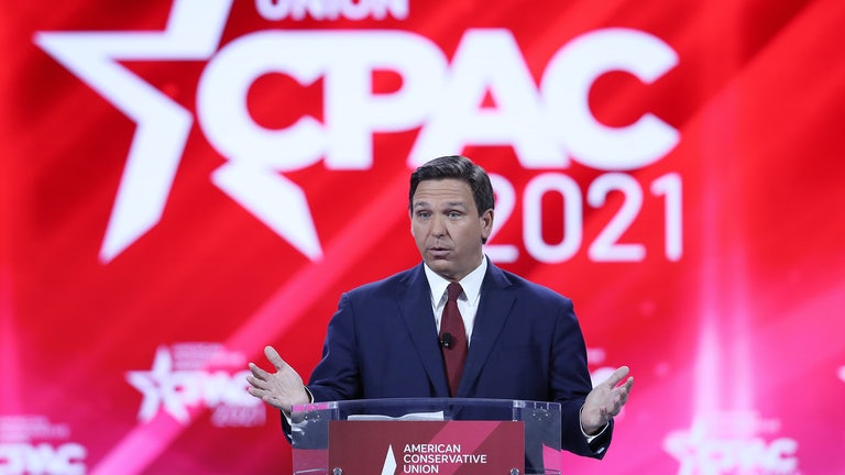 Florida Governor Ron DeSantis speaks to the crowd at the 2021 Conservative Political Action Conference