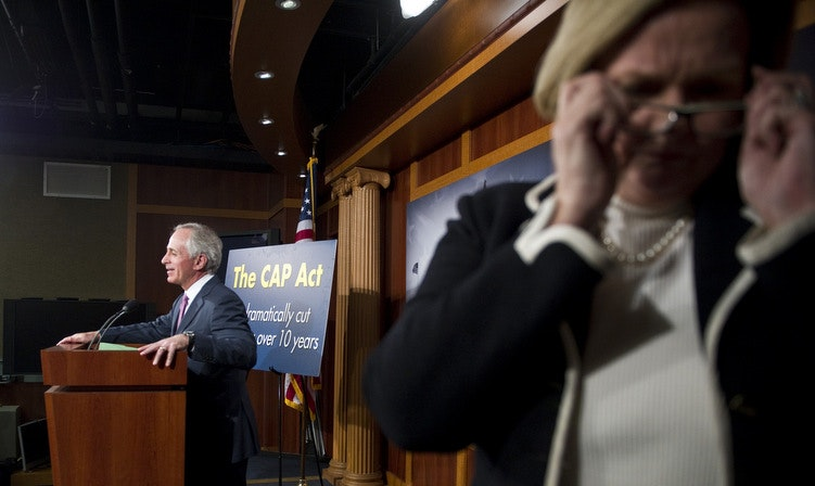 Missouri Senator Claire McCaskill photobombs Tennessee Republican Bob Corker in a rare foreground photobomb. (Scott Ferrell/CQ-Roll Call Group)