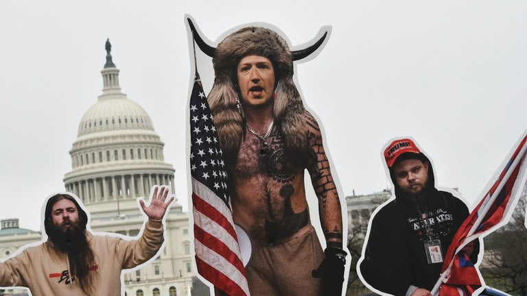 An effigy of Facebook CEO Mark Zuckerberg, dressed as a Capitol rioter