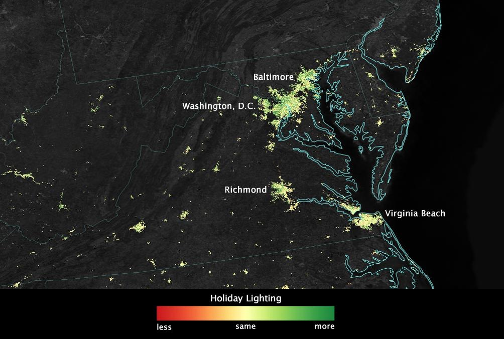 NASA Photos Show Light Pollution in US During Christmas Holidays