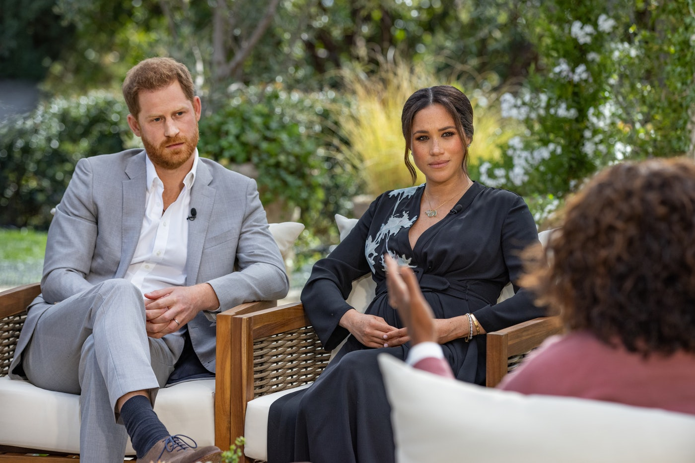 Oprah Winfrey interviews Prince Harry and Meghan Markle during her primetime television special.