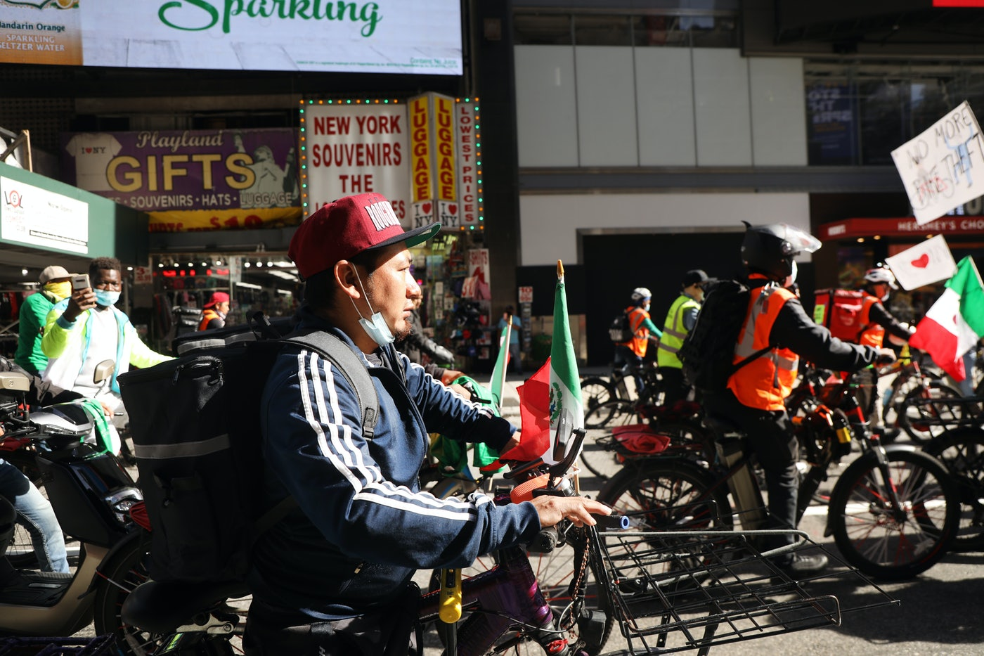 Hundreds of delivery workers protest in New York City