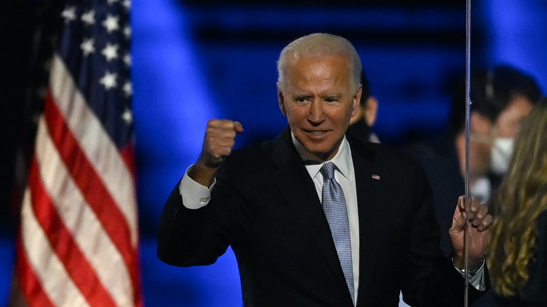 Biden celebrates after being declared winner of the 2020 election.
