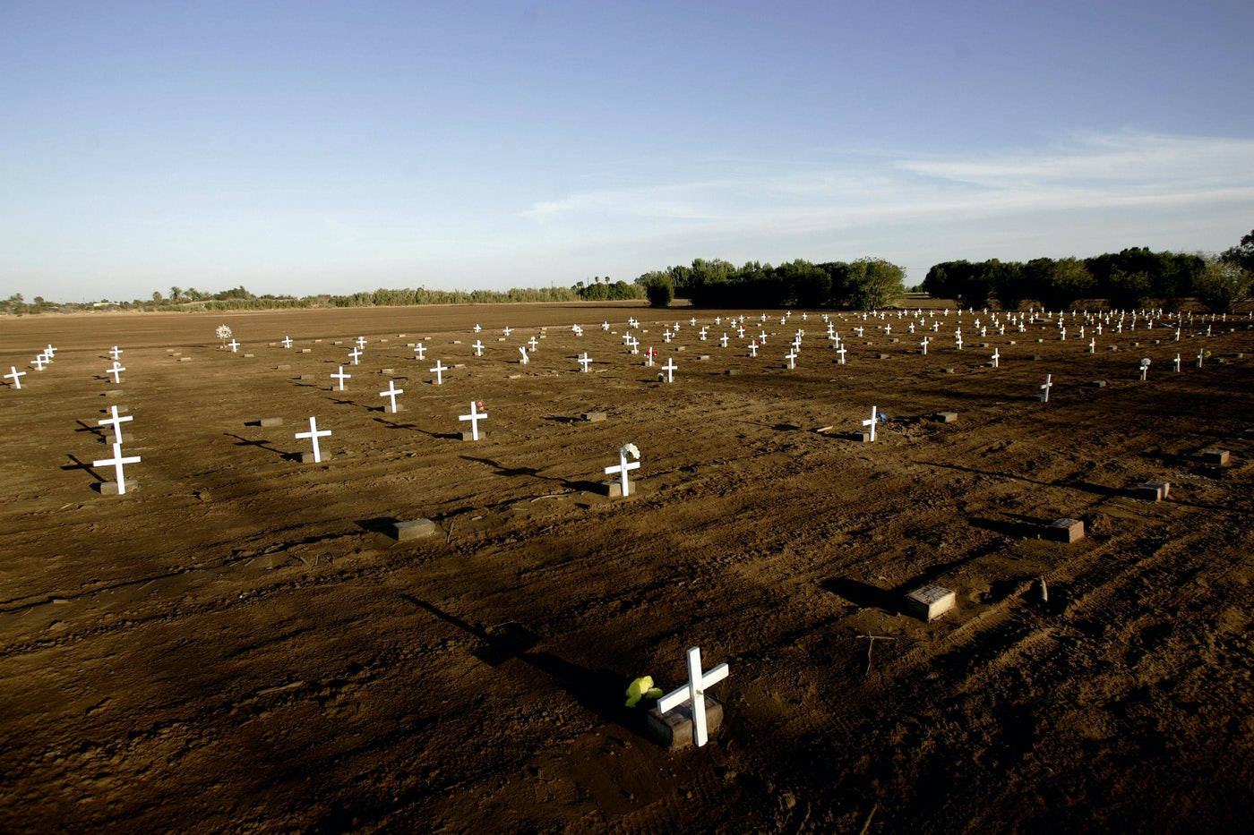 A makeshift cemetery bearing the bodies of unidentified people who have died crossing the border in the city of Holtville, a few miles east of San Diego, CA