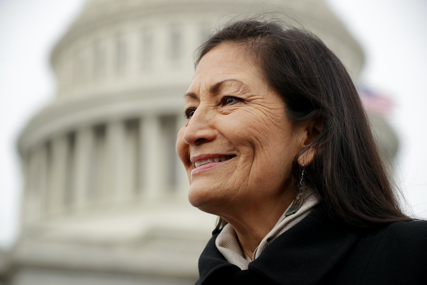 New Mexico congresswoman Deb Haaland smiles in front of the Capitol building