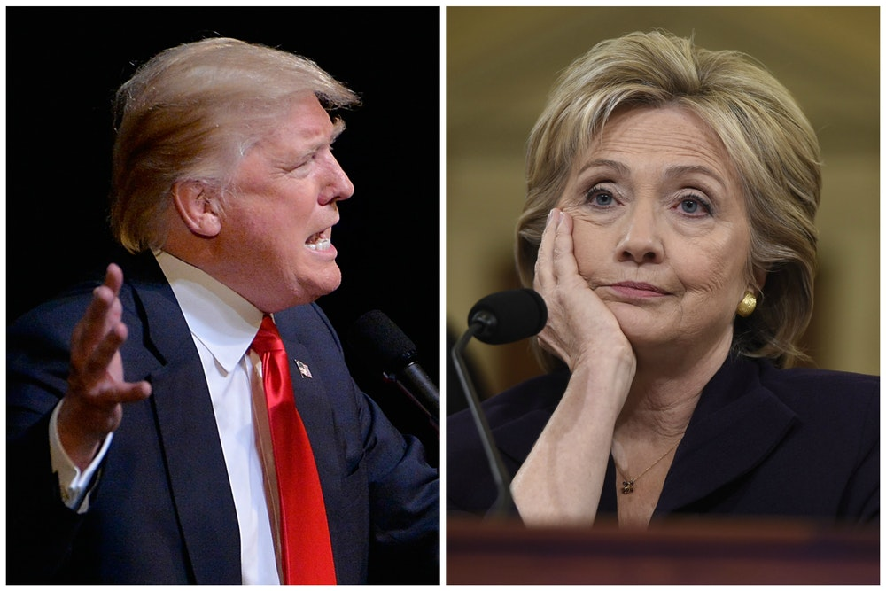 Image result for trump and hillary, both not fit