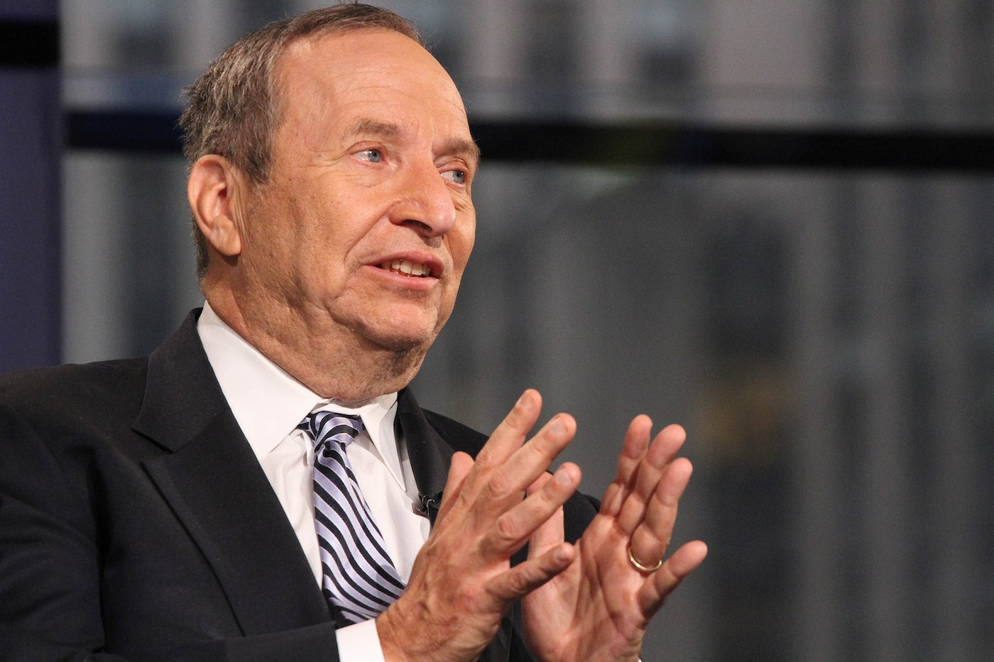Former Treasury Secretary Larry Summers gesticulated while talking to Fox News.