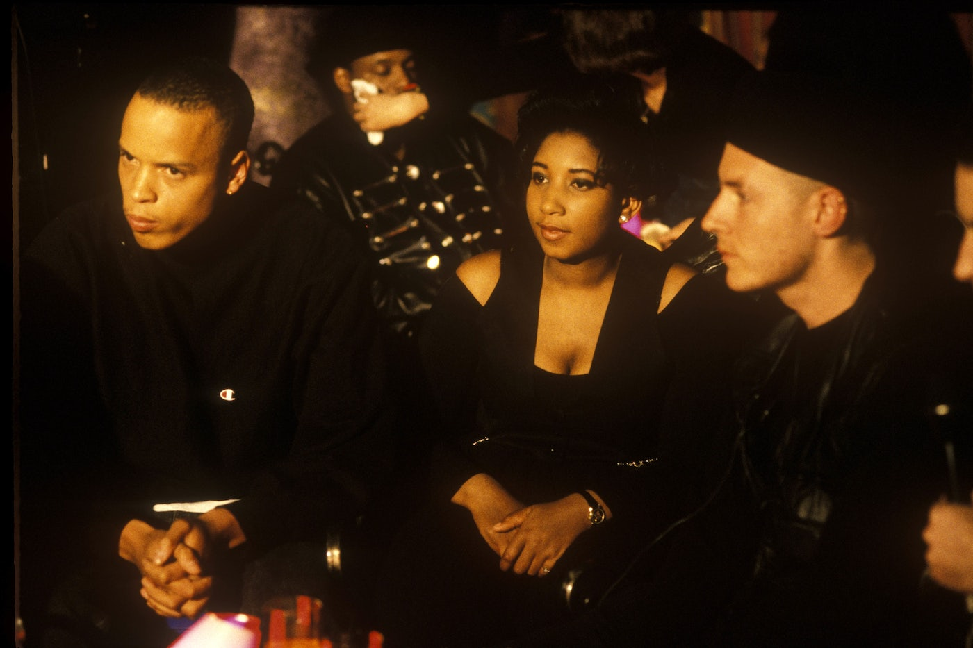 "An archival photo of Shara Nelson, center, with Massive Attack's Andrew ""Mushroom"" Vowles (left) and Robert ""3D"" Del Naja."