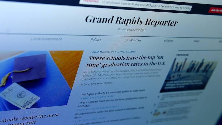 The homepage of the Grand Rapids Reporter