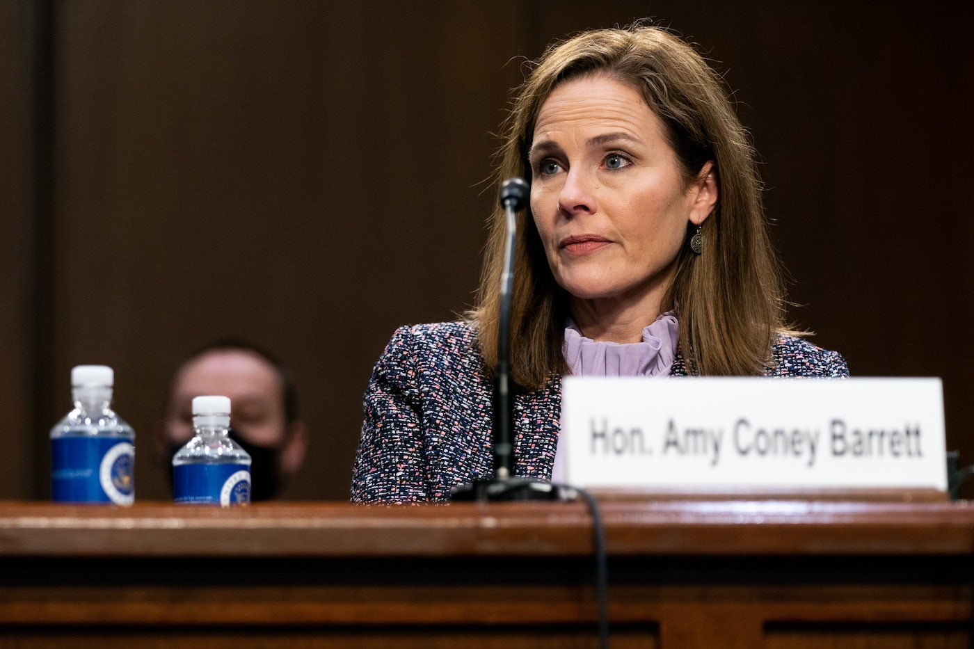 Amy Coney Barrett at this week's Supreme Court hearings.