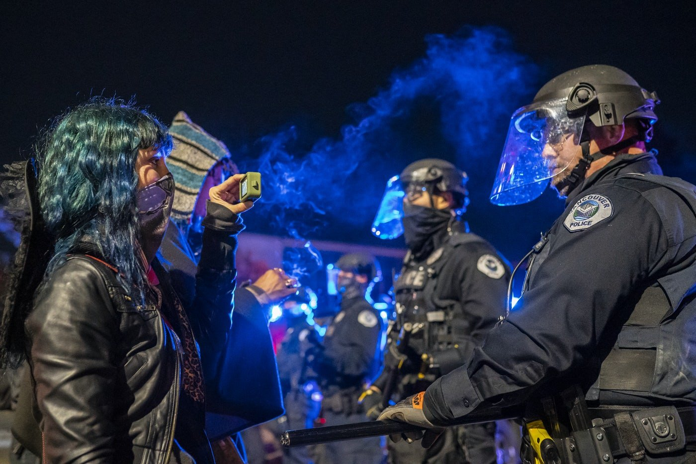 A Black Lives Matter protester films the police at an encounter in Washington state.
