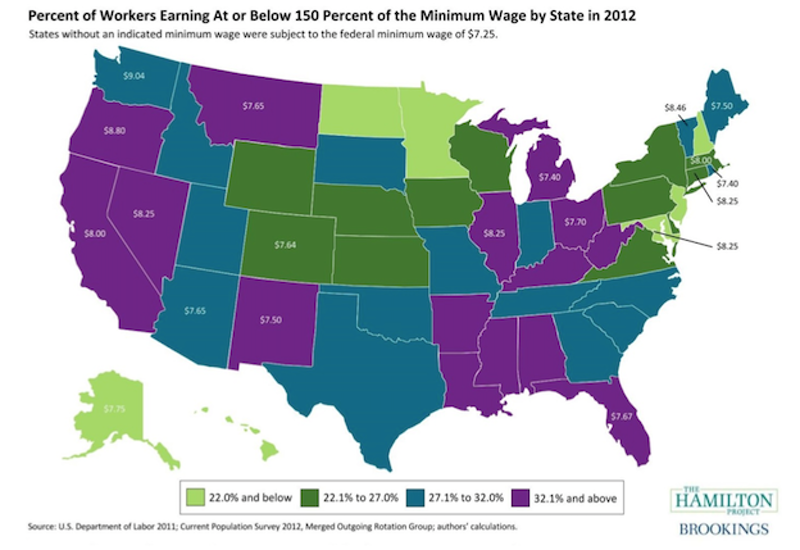 Minimum Wage By State In America Map New Republic - Minimum wage map us