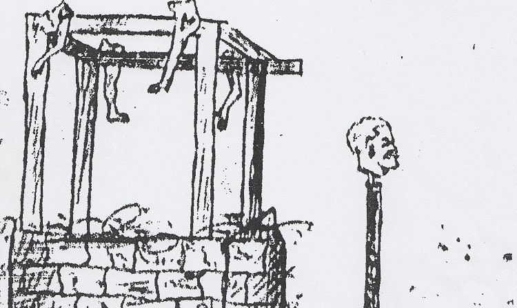 A court notary's sketch of a traitor's dismembered limbs and head, 1588. (Stadarchiv Nürnberg)