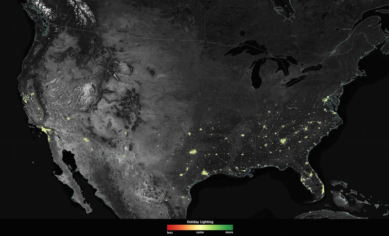 NASA Photos Show Light Pollution In US During Christmas Holidays - Map of light pollution us