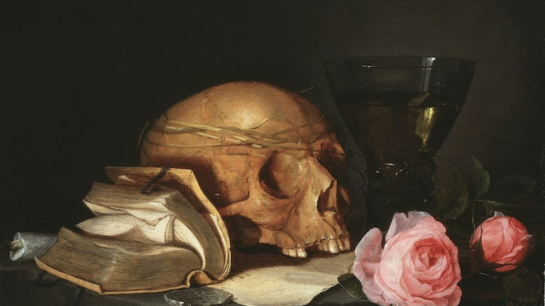 'A Vanitas Still Life with a Skull, a Book and Roses,' c.1630 (oil on wood), by Jan Davidsz de Heem