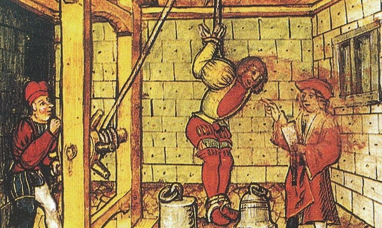 The interrogation technique known as the strappado, 1513. (Luzern Zentralbibliothek)