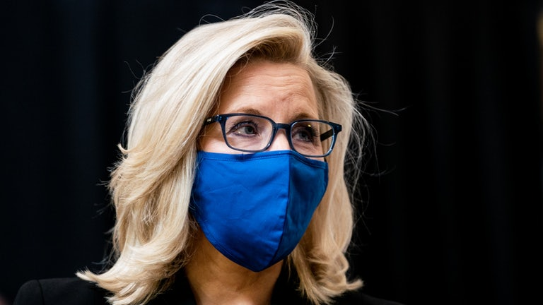 Liz Cheney wearing a blue mask, against a black background