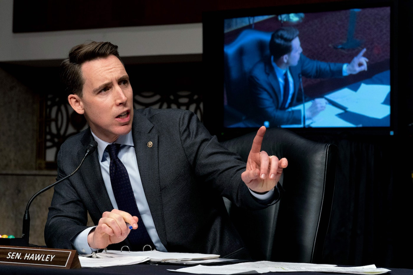 Senator Josh Hawley speaks at a Senate Homeland Security and Governmental Affairs & Senate Rules and Administration joint hearing on Capitol Hill