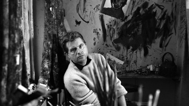 Francis Bacon in his studio at Overstrand Mansions in Battersea.