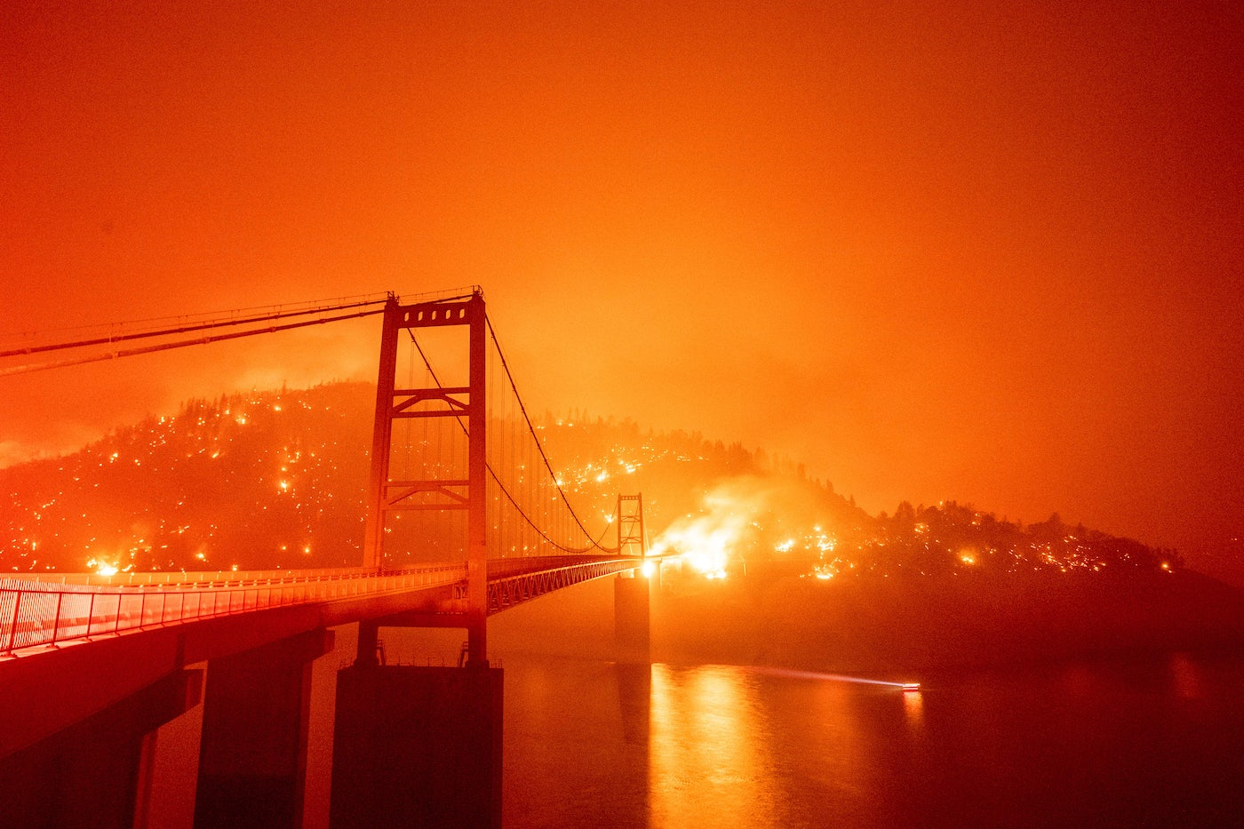 A fire burns in Oroville, California.