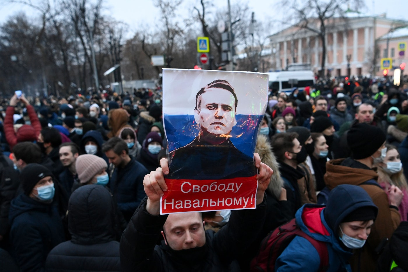 Protesters march in support of jailed opposition leader Alexei Navalny in downtown Moscow.