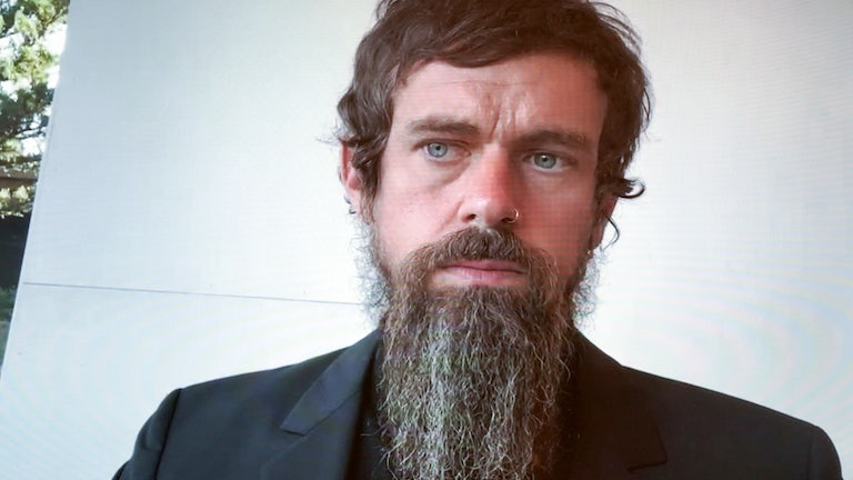 Twitter CEO Jack Dorsey, looking concerned, on a videoconference call