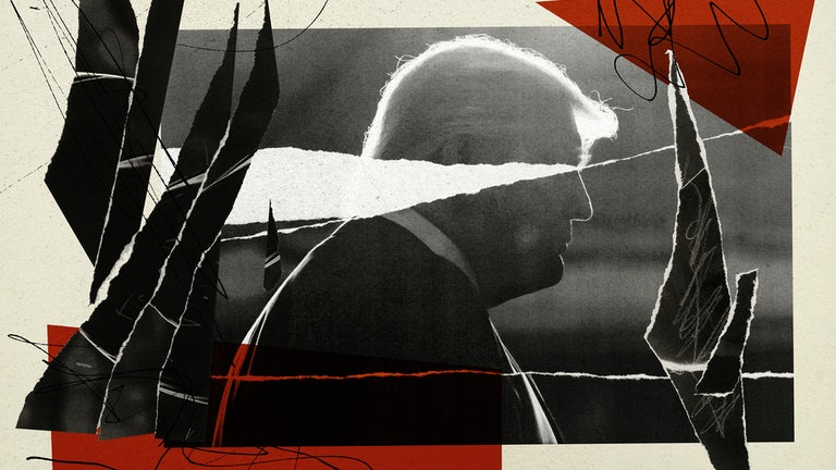 An abstract illustration of Donald Trump by Valerie Chiang